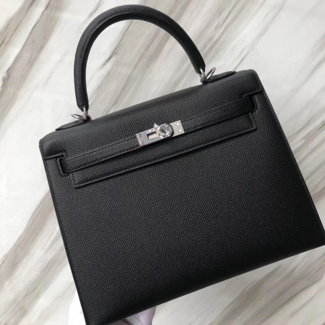 愛馬仕外縫凱莉包 Hermès handbag Kelly 25cm CK89黑色 Noir Black