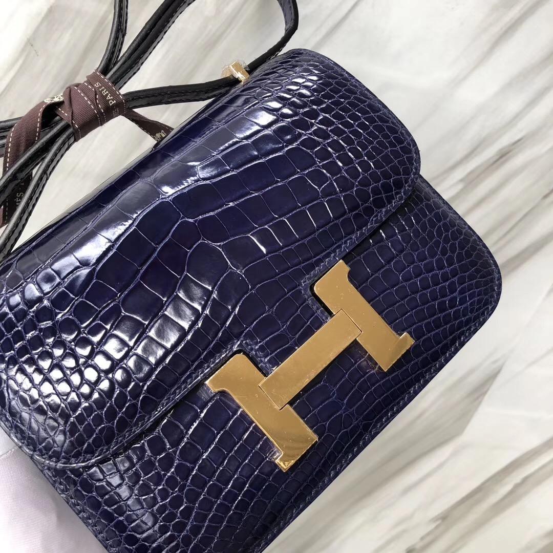 Hermes Constance 19cm Bag 亮面方塊 美洲鱷 M3墨水藍 Blue Encre