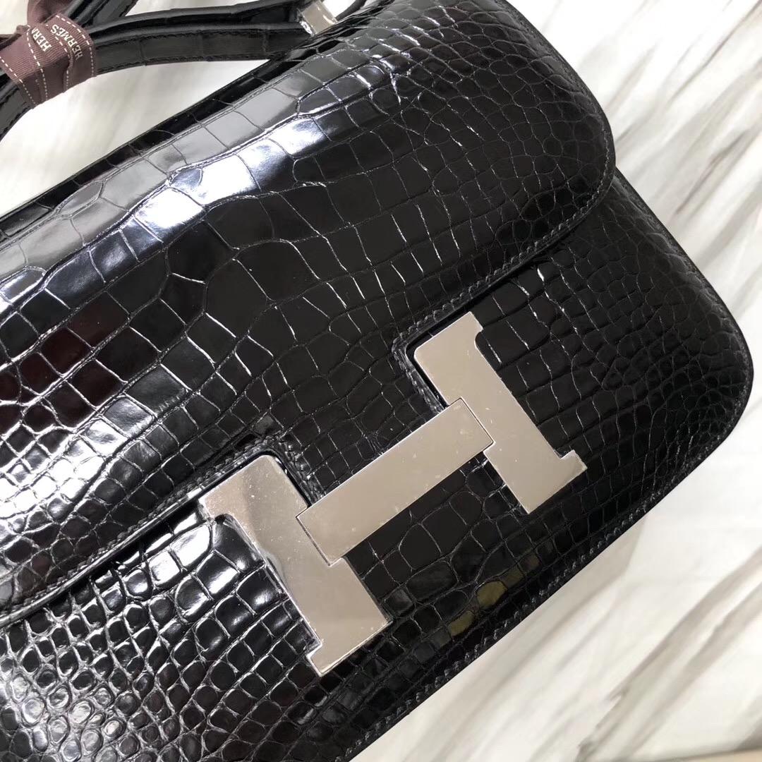 愛馬仕康康包24價格 Hermes Constance 24cm CK89黑色 Noir 美洲鱷