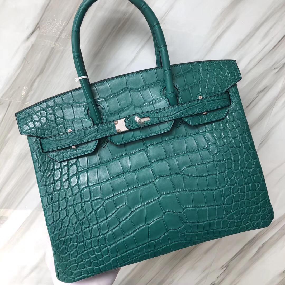 Hermès 7F孔雀藍 Blue paon Birkin 30cm Matte alligator crocodile