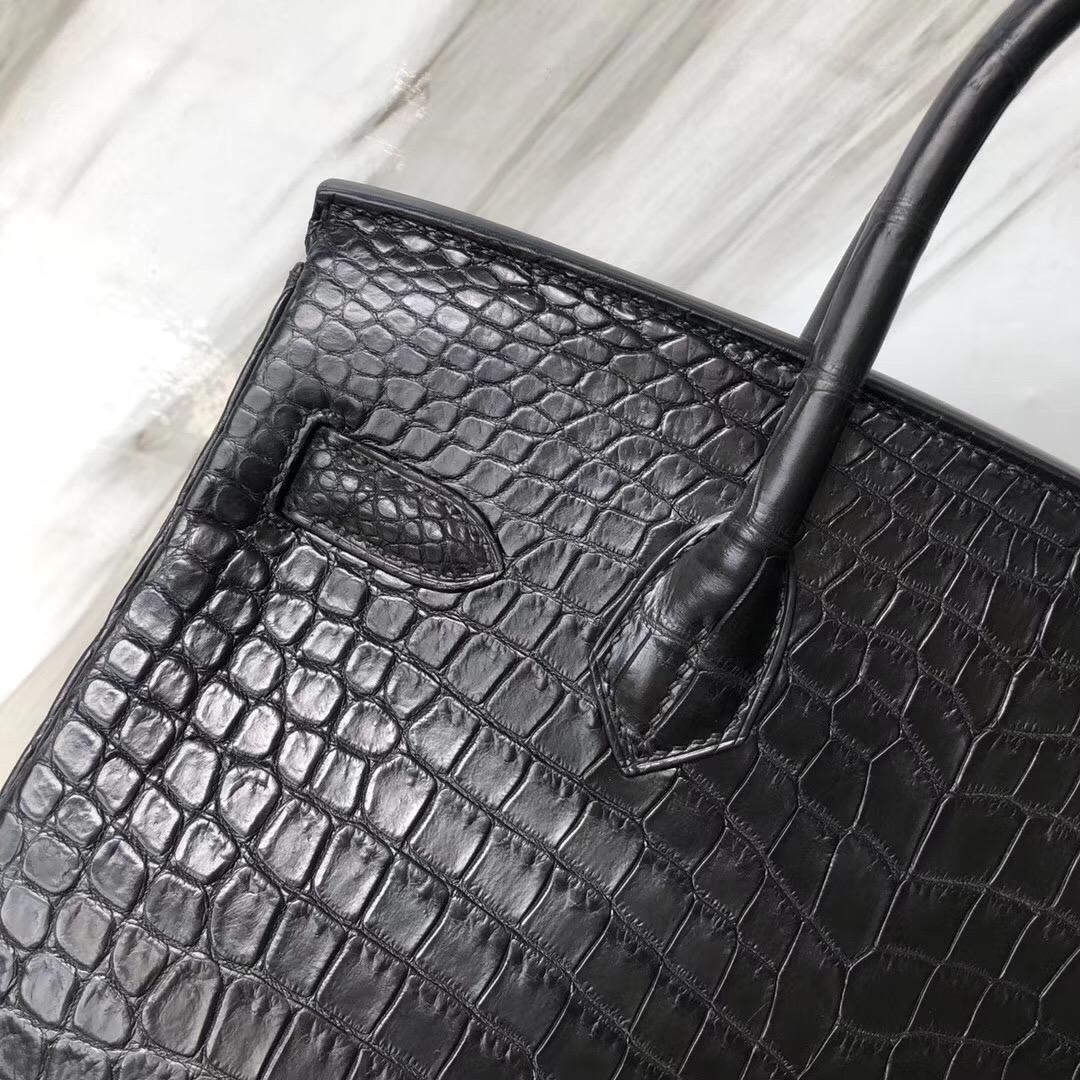 Hermès Handbags Birkin 30cm Matte porosus crocodile CK89黑色