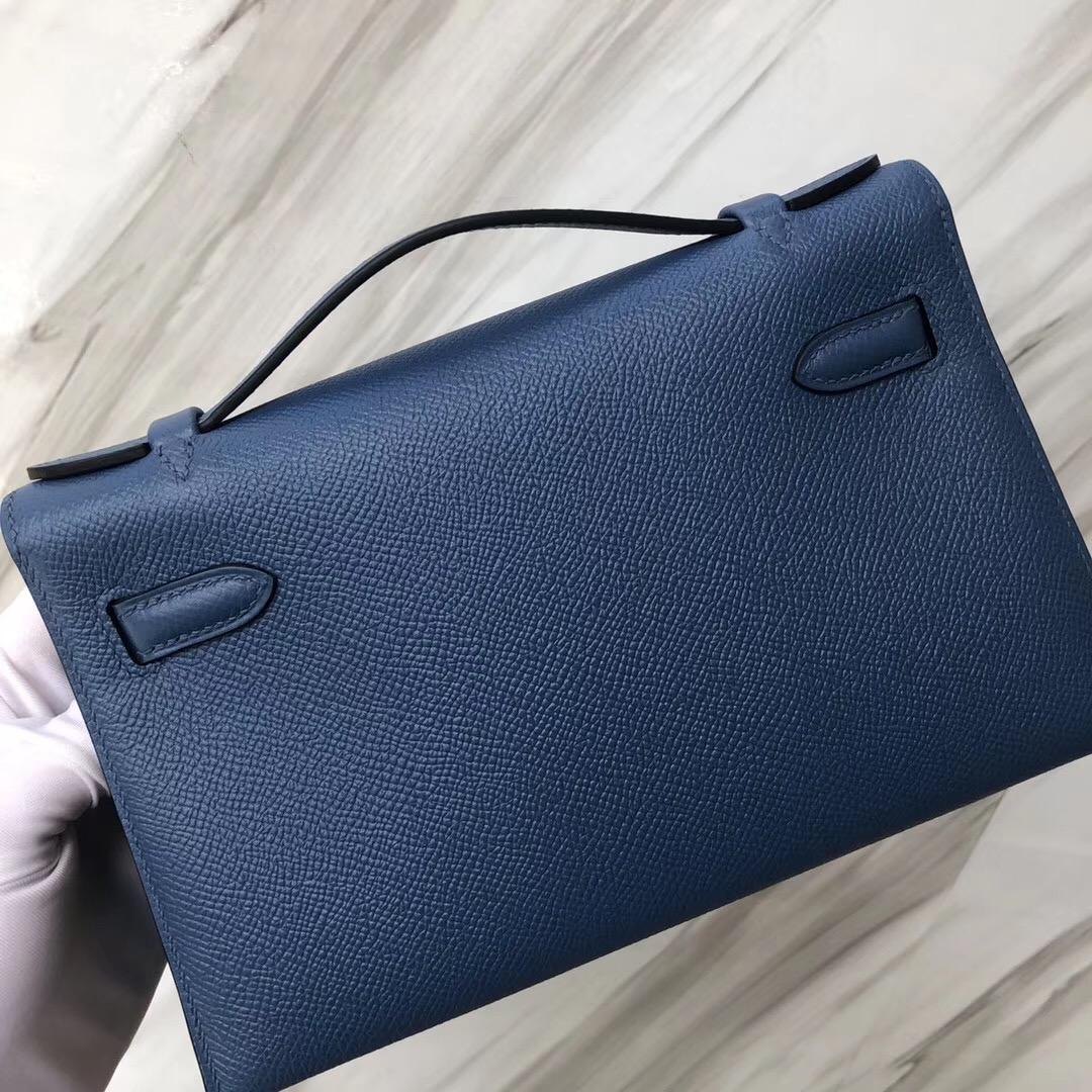 Hong Kong Hermès Minikelly pochette R2瑪瑙藍 Blue agate Epsom