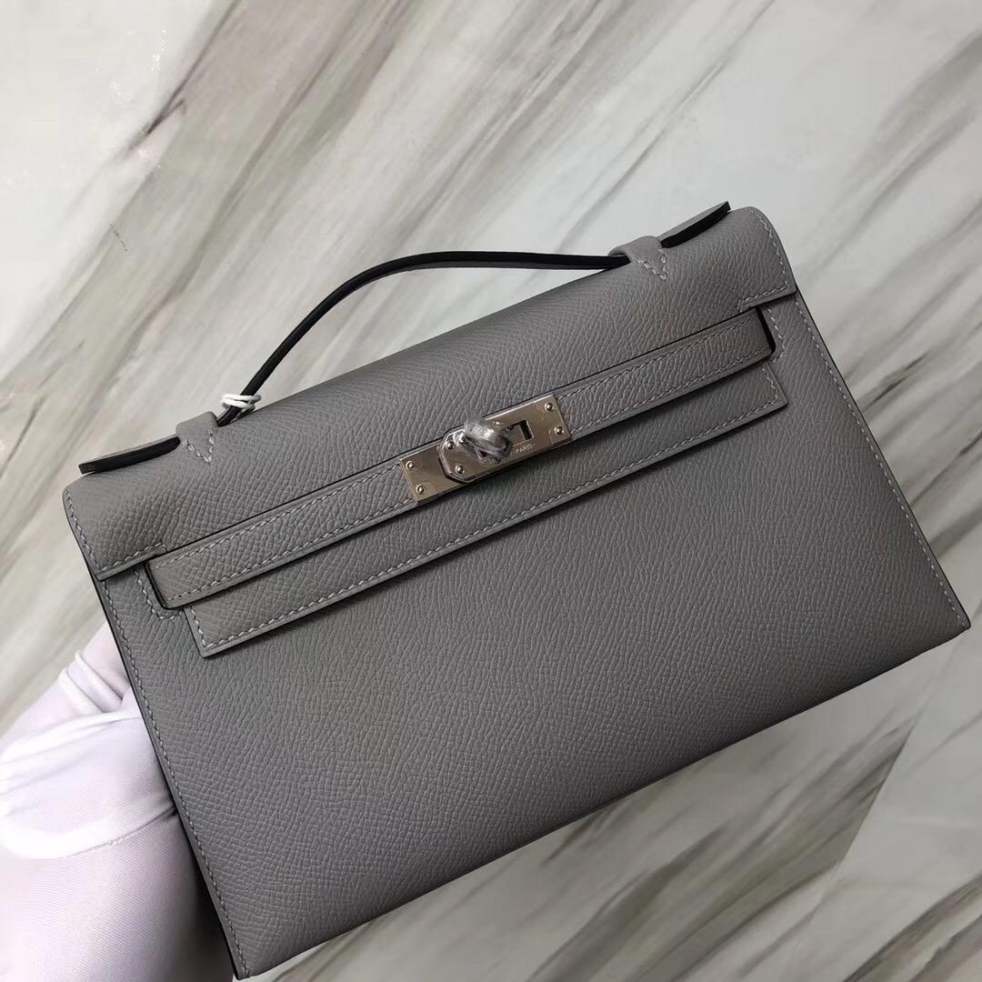 Hong Kong Hermes Pochette Mini kelly壹代 4Z海鷗灰 Blue Mouette