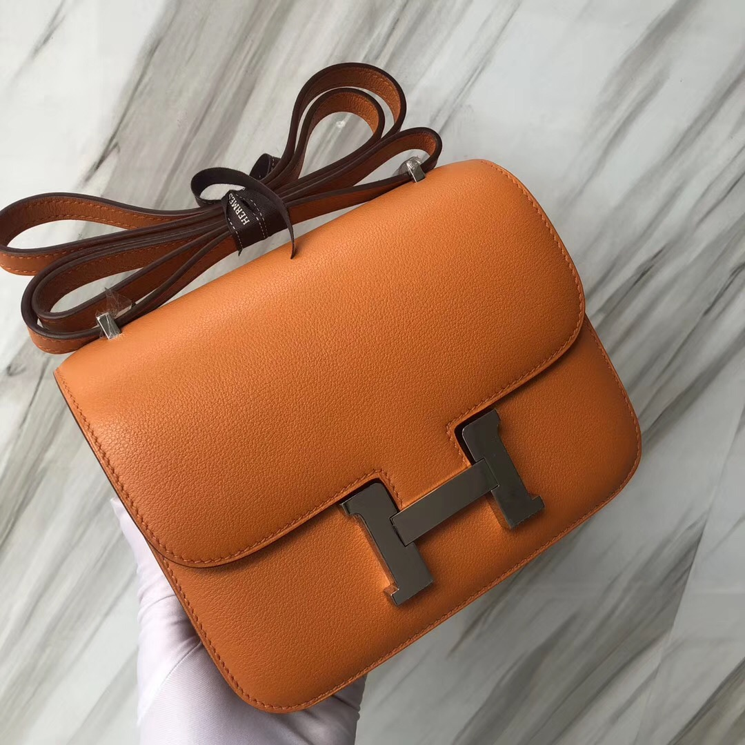 Malaysia Hermes i9杏黃色 Airport Constance 19cm everycolor  銀扣