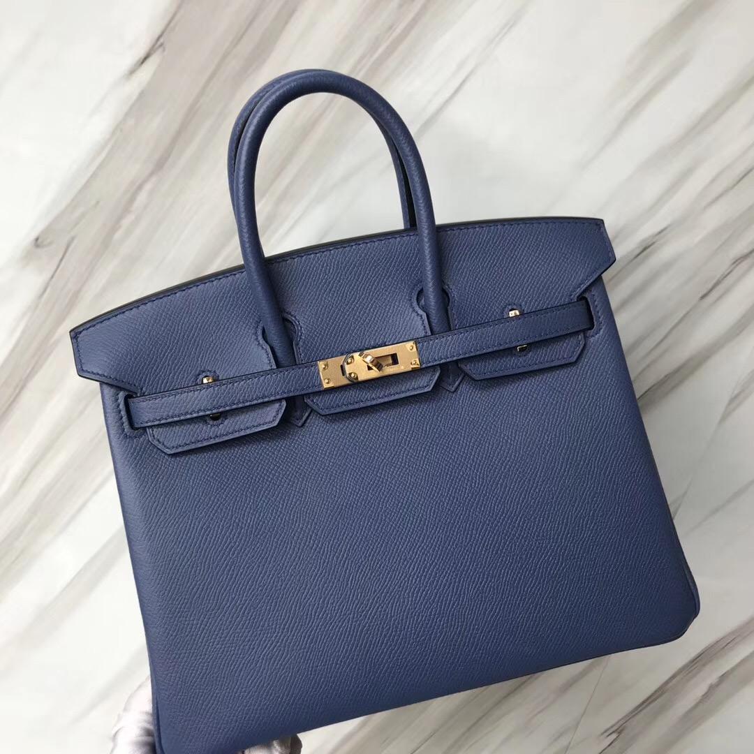 新加坡愛馬仕旗艦店 Hermes Birkin 25cm 7E明藍色 Blue Brighton