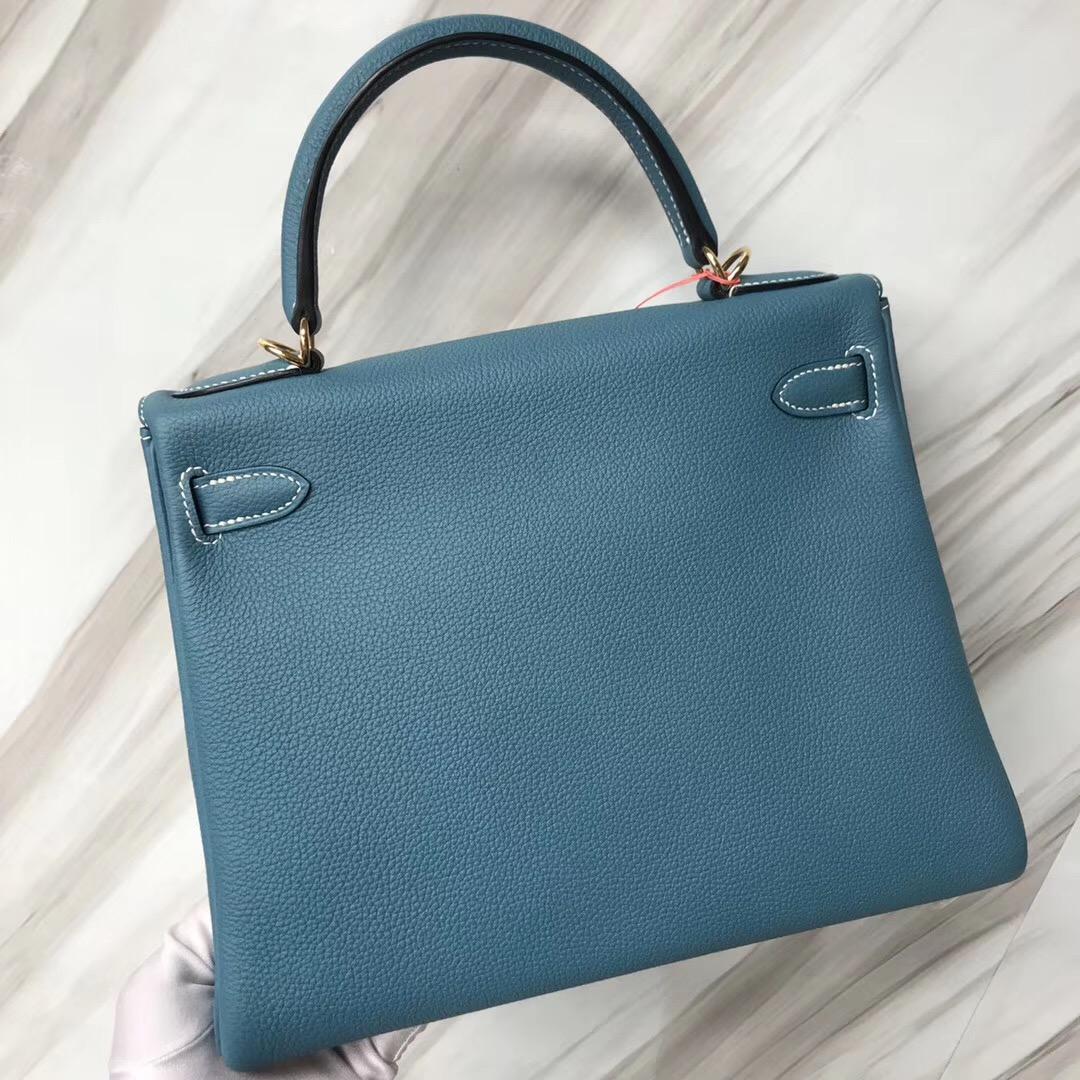 臺北愛馬仕麗晶精品專賣店 Hermes Kelly 28cm Togo CK75牛仔藍 Blue Jean