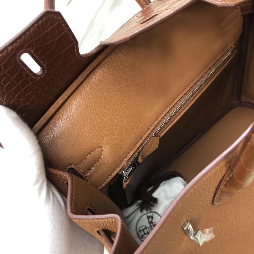 新光三越西門店 Hermes Birkin 25 Touch CK37金棕色 Togo拼霧面美洲鱷