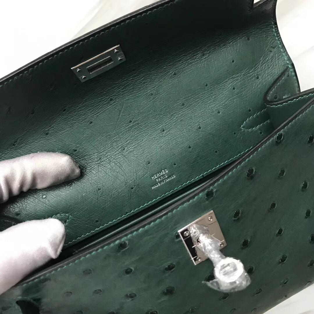 Hermes MiniKelly Pochette Z6孔雀綠 malachite Ostrich KK 南非鴕鳥皮