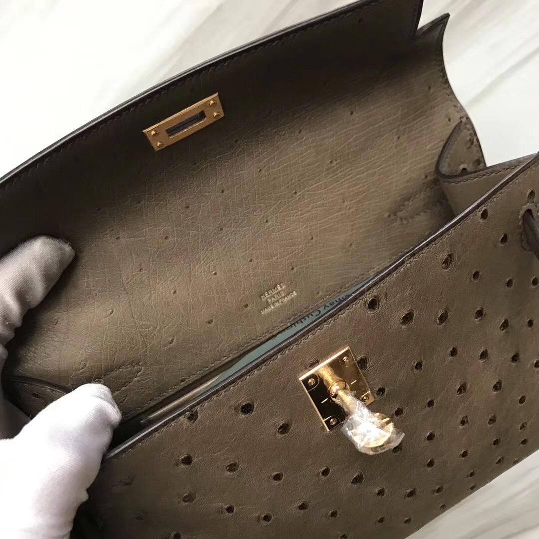Hermes Kelly Mini Pochette CK18大象灰Etaupe KK南非鴕鳥皮