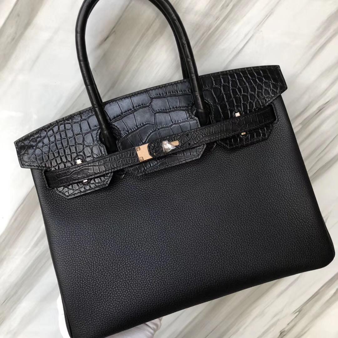 Hermès Birkin 30cm Touch Togo皮 霧面美洲鱷 CK89黑色 玫瑰金扣