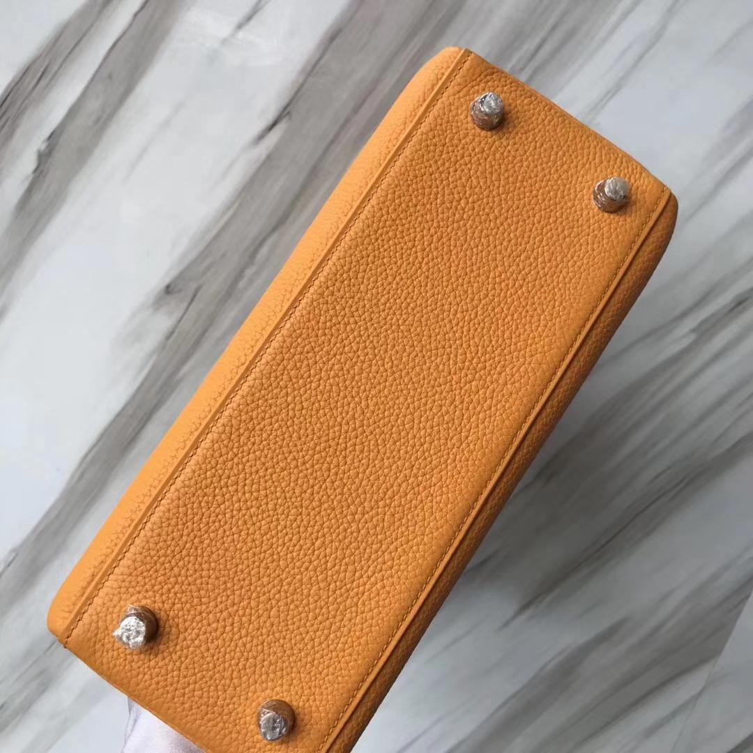 愛馬仕內縫凱莉包 Hermes Kelly 25cm Bag Togo I9杏黃色 Abricot