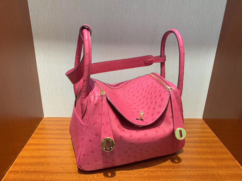 Malaysia Hermes lindy 26cm E5 Rose Tyrien糖果粉 Ostrich E5玫紅 桃紅色