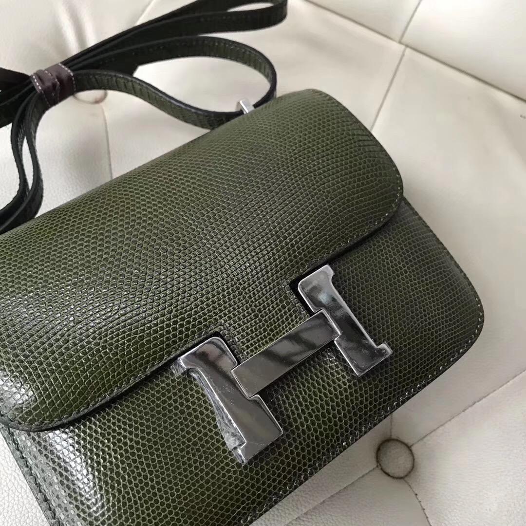 愛馬仕康斯坦斯包 Hermes Constance 19cm Lizard 61橄欖綠 Vert Olive