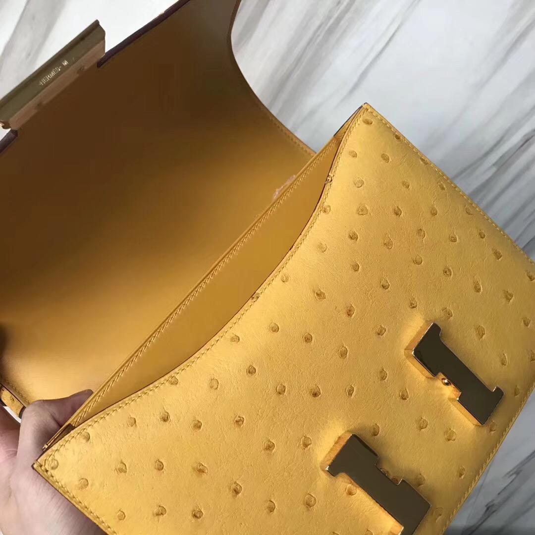 Hermes Constance 24cm Ostrich 9D Jaune Amber琥珀黃 KK南非鴕鳥皮