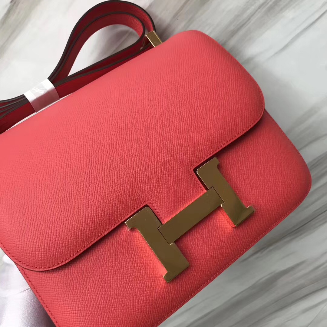 愛馬仕空姐包 Hermes Constance 19cm T5齋普爾粉 蜜桃粉 Rose Jaipur