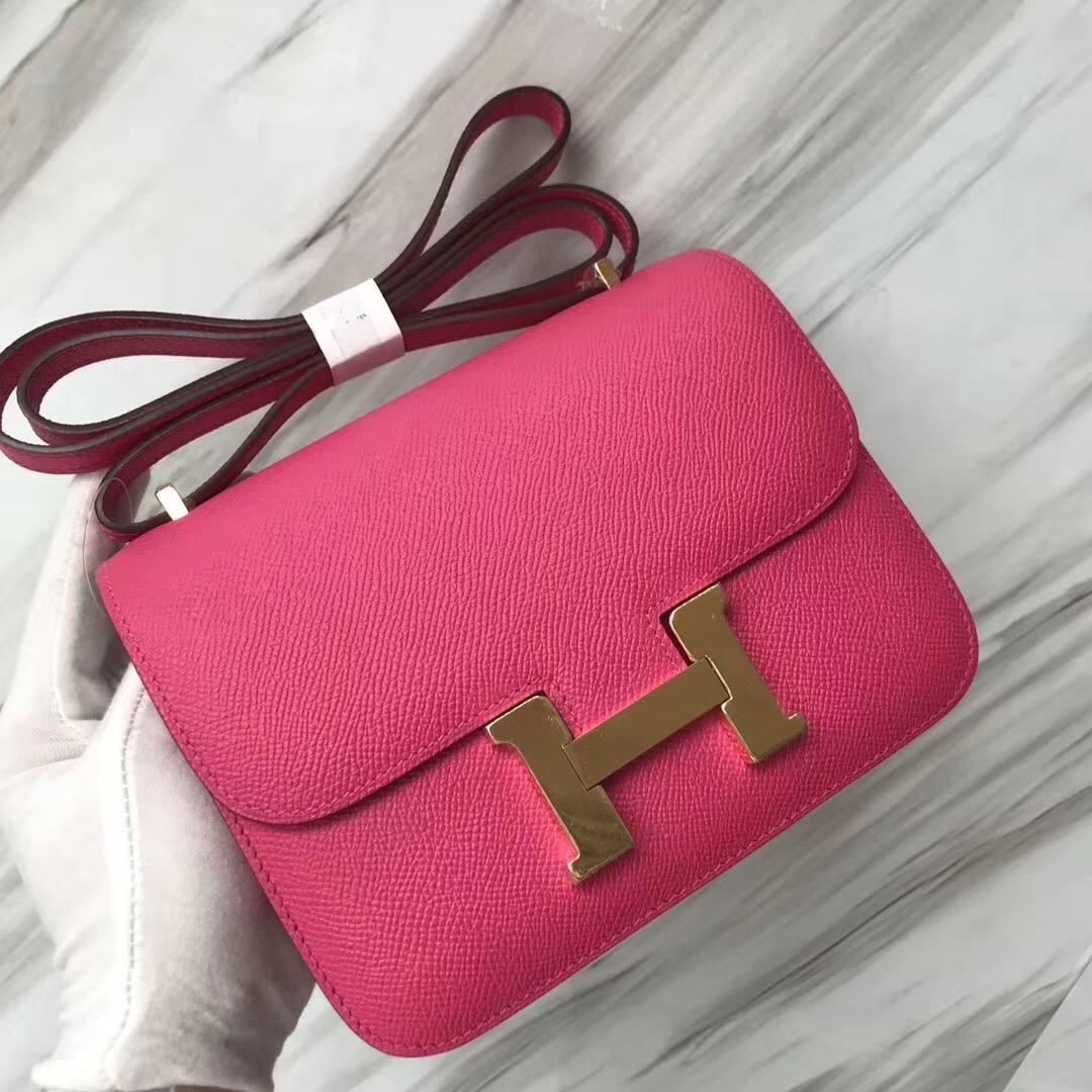 Hermes Constance 19cm Epsom E5 Rose Tyrien糖果粉 本色線 金扣