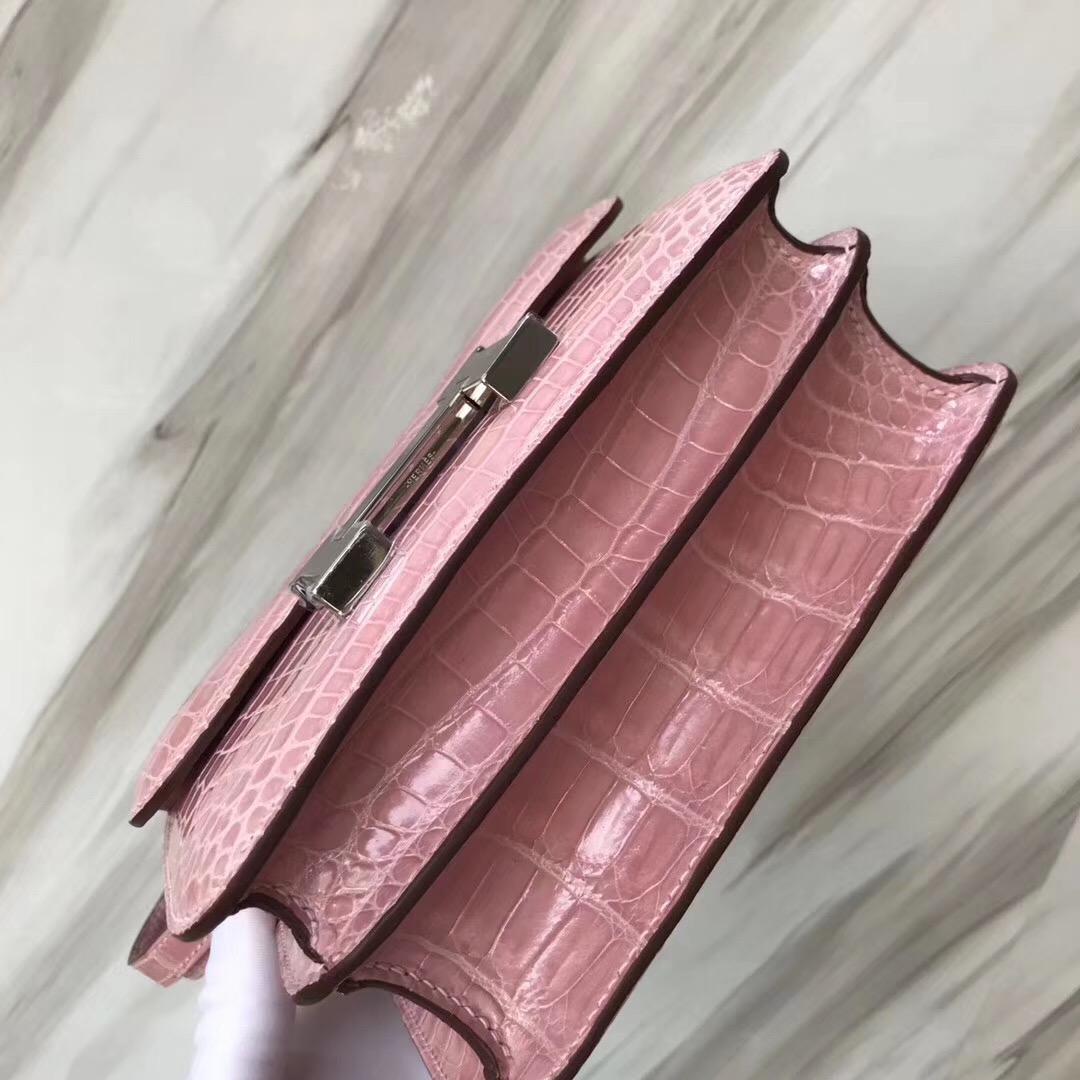 Hermes constance 19cm mini 1Q Rose Confetti 奶昔粉 Shiny nilo crocodile