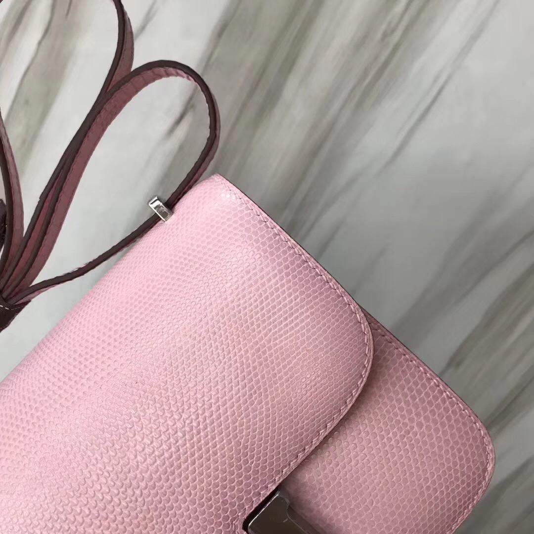 愛馬仕康康包價格 Hermes constance 19cm mini Lizard  5P Pink櫻花粉