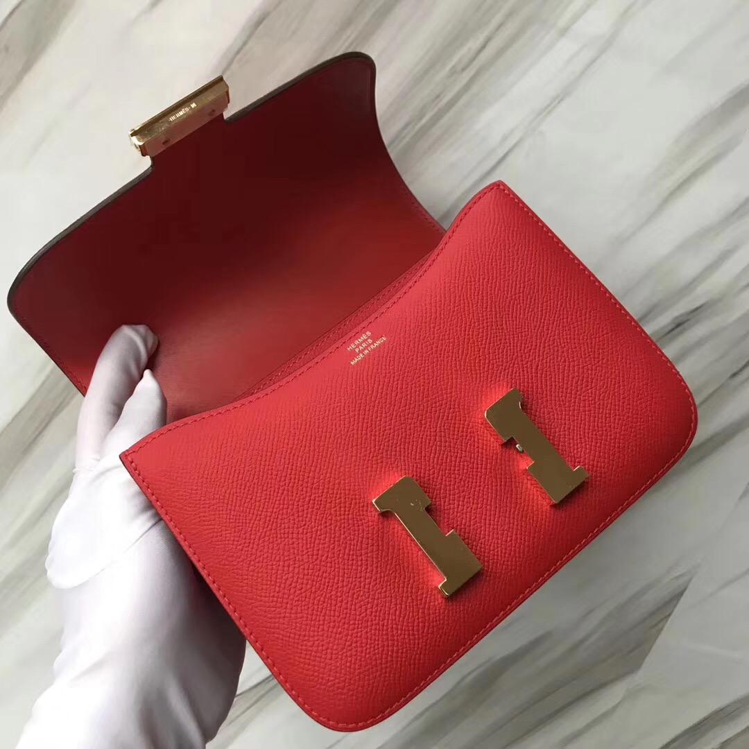 愛馬仕空姐包圖片大全 Hermes Constance 19 Epsom S3心紅色Rose de coeur