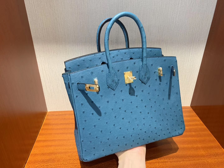 Taiwan Hermes Birkin Bag 25cm 7C珊瑚藍 Ostrich KK 南非鴕鳥皮