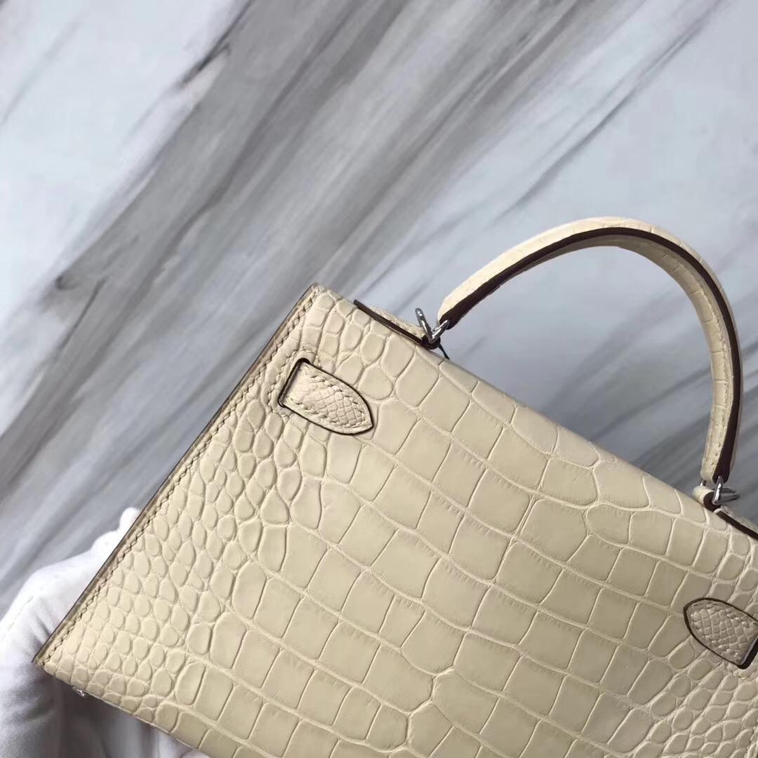 Hong Kong Hermes MiniKelly2代 Y1 Vanille香草色 霧面方塊 美洲鱷