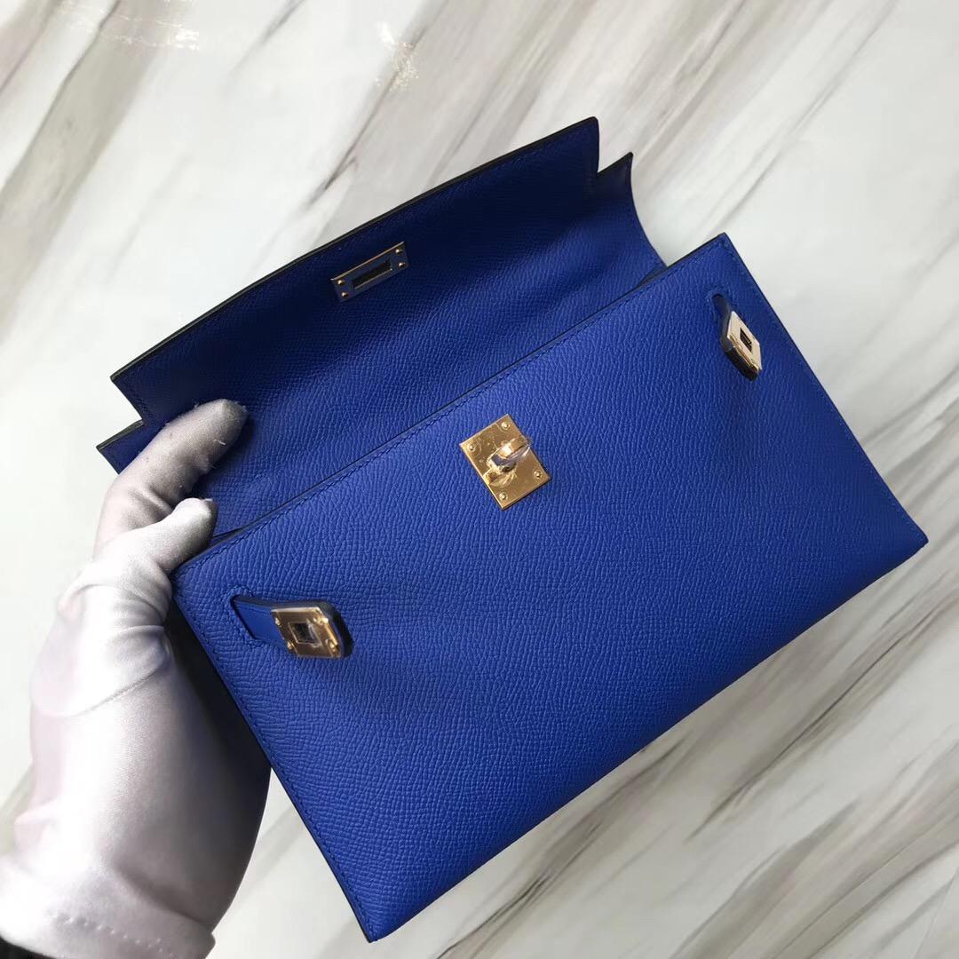 Hermes MiniKelly 壹代 Pochette Epsom I7 Blue zellige 琉璃藍