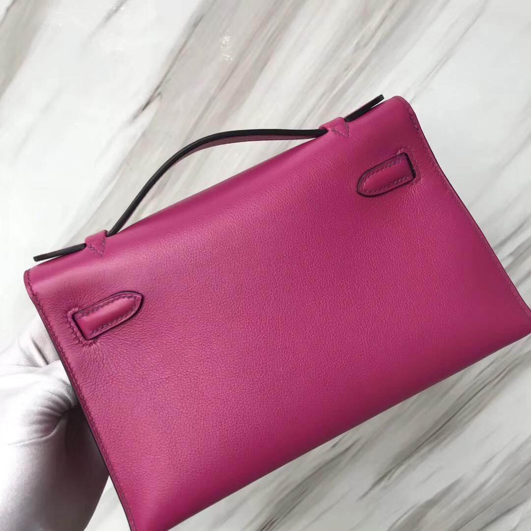 Hermes MiniKelly 22cm pochette Swift calfskin L3玫瑰紫RosePourpre