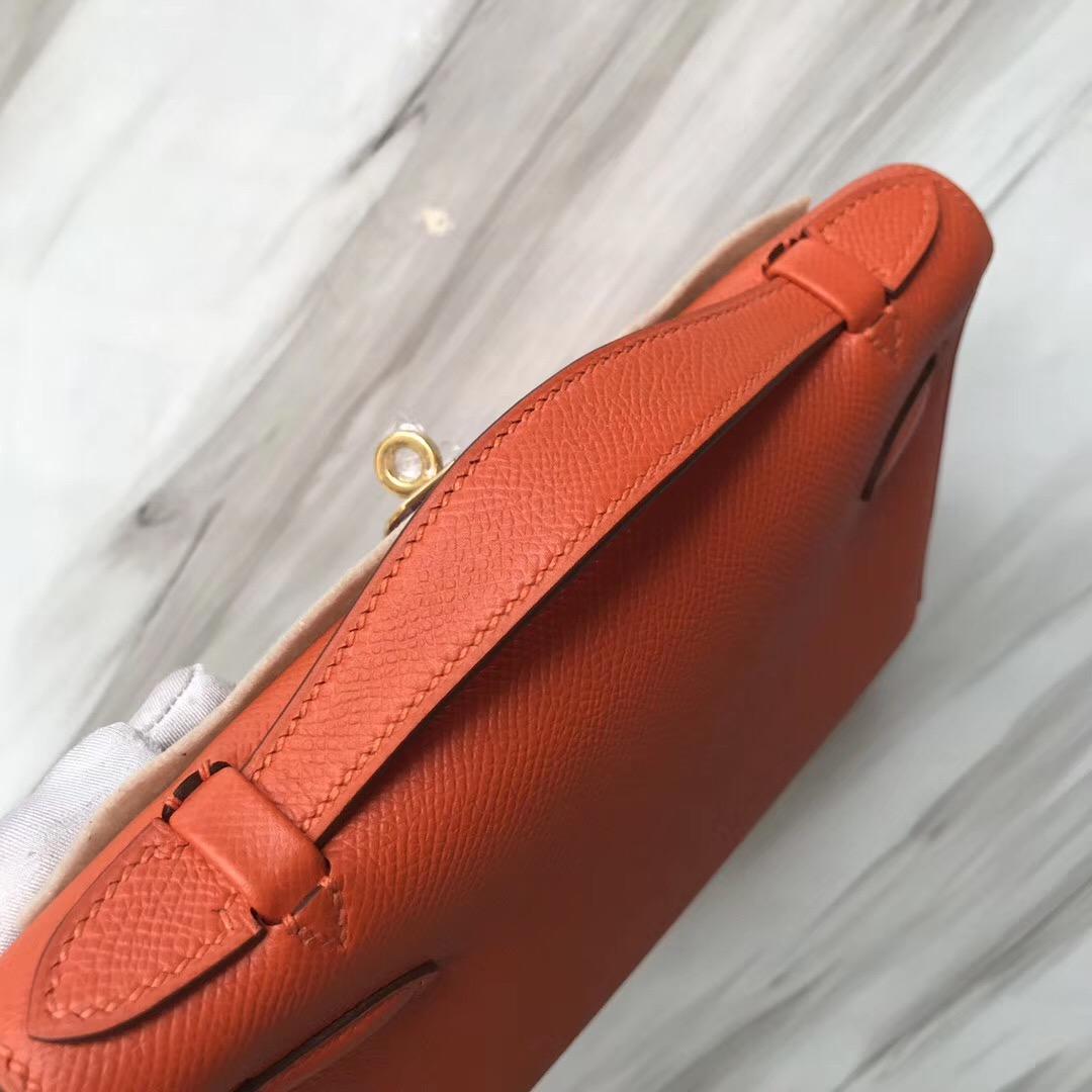 愛馬仕迷妳凱莉包圖片 Hermes MiniKelly pochette 9J Feu 火焰橙