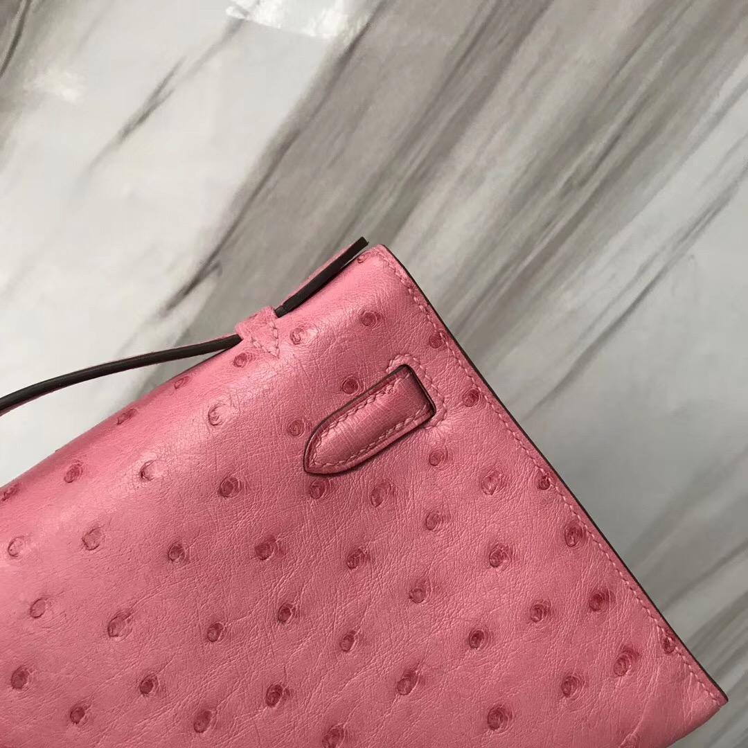 Hermes MiniKelly pochette 1Q Rose Confetti 奶昔粉 Ostrich KK鴕鳥皮