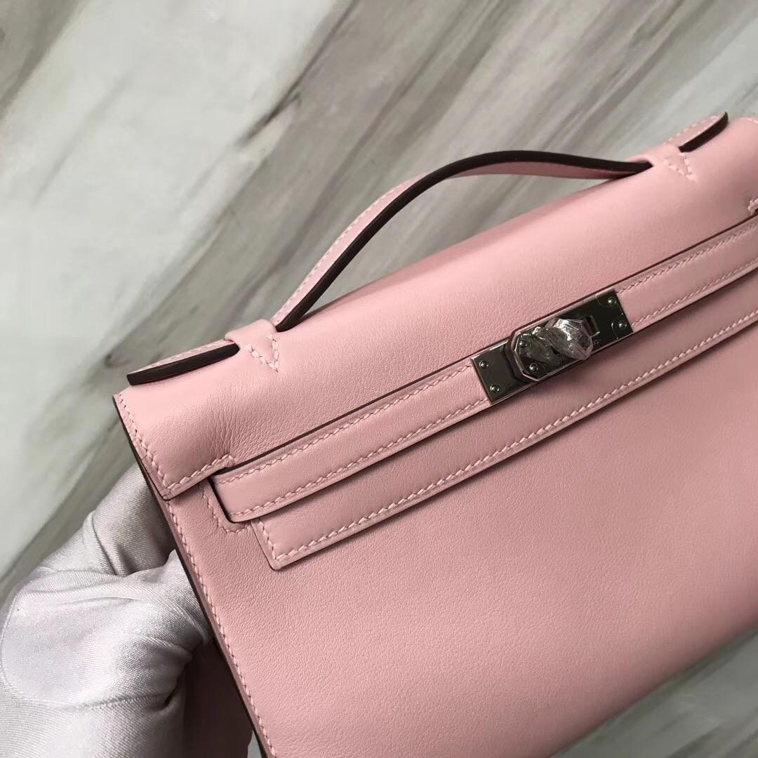 Hermes MiniKelly pochette 3Q新櫻花粉 Rose Sakura Swift calfskin