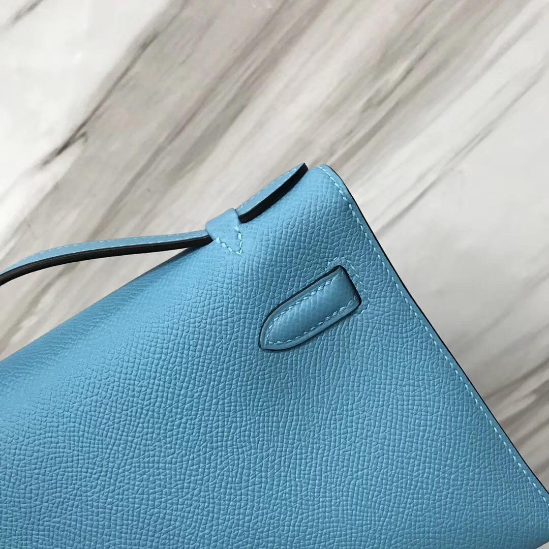 Hermes MiniKelly pochette P3北方藍Blue de nord Epsom手掌紋牛皮