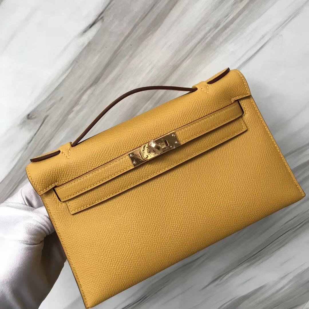 Taiwan Hermes 9D Jaune Amber琥珀黃 MiniKelly pochette Epsom手掌紋牛皮