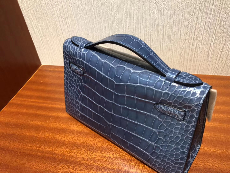 Hermes Minikelly Pochette N7風暴藍Blue Tempete 亮面方塊 美洲鱷