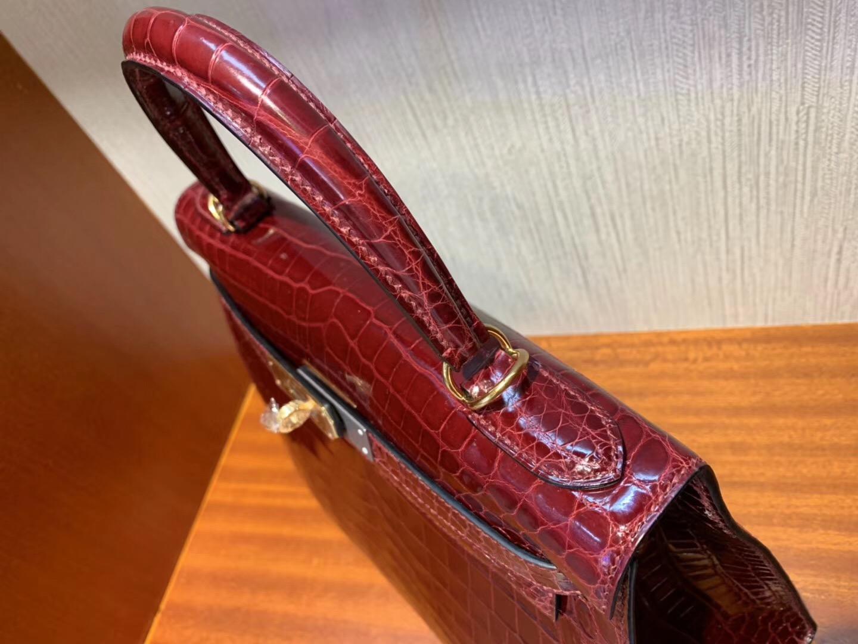 Hermes Kelly Bag 28cm F5勃艮第酒紅 Bourgogne 亮面兩點 尼羅鱷