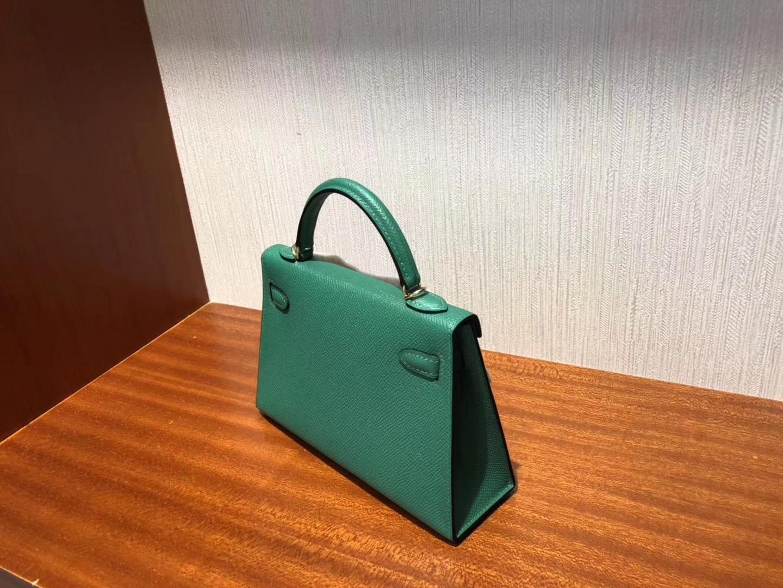 愛馬仕迷妳凱莉包2代香港價格 Hermes Minikelly Z6孔雀綠Vert Verigo