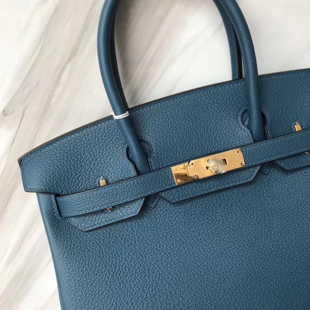 Australia Hermes Brikin 30cm S7 blue de galice 加利西亞藍 原廠togo小牛皮