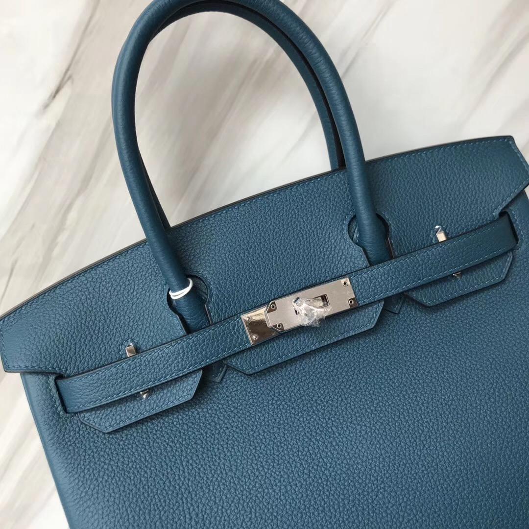 澳大利亞愛馬仕包包 Australia Hermes Brikin 30 S7 加利西亞藍 blue de galice