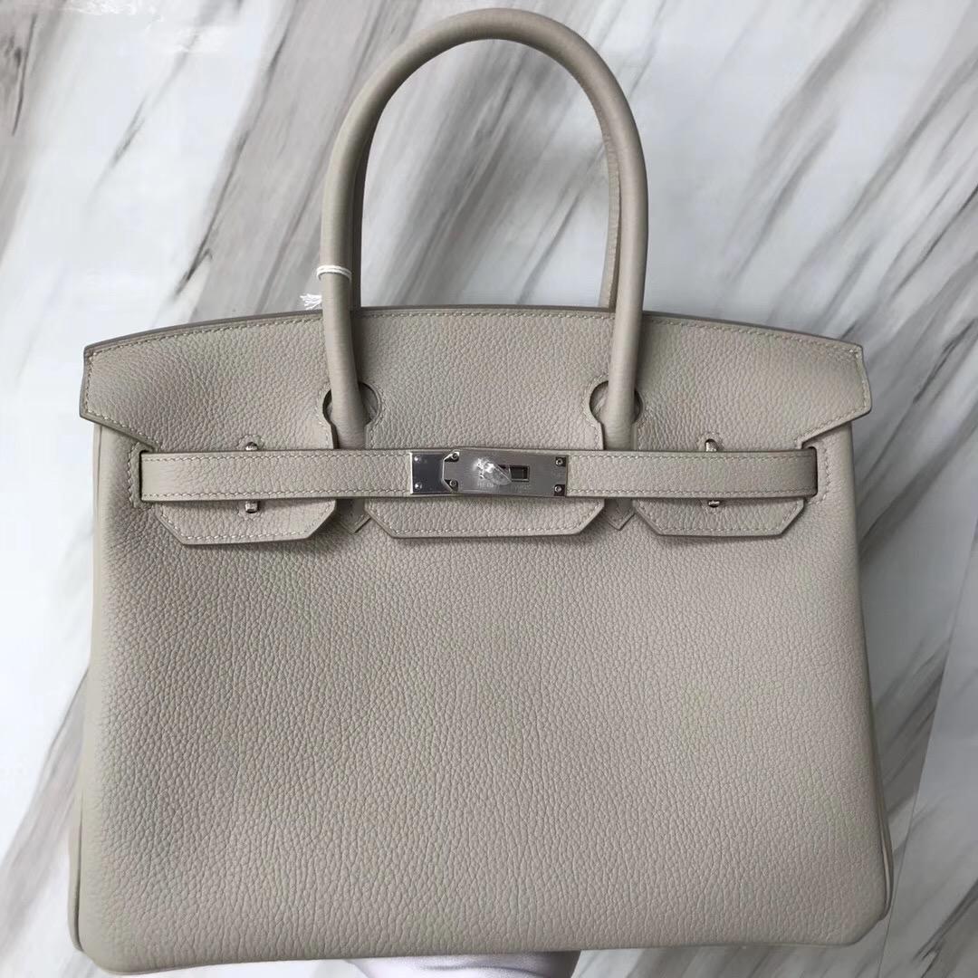 新加坡愛馬仕包包Singapore Hermes Birkin 30cm CK80 Pearl Grey 珍珠灰