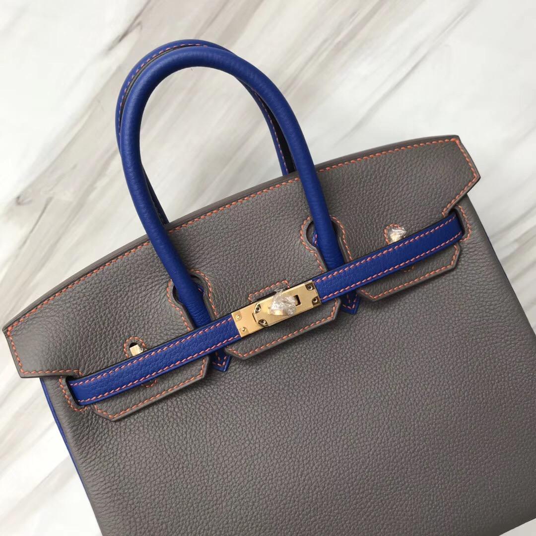 Hermes HSS Birkin 25cm 8F Etain 錫器灰/I7 琉璃藍 Blue zellige 拉絲金扣