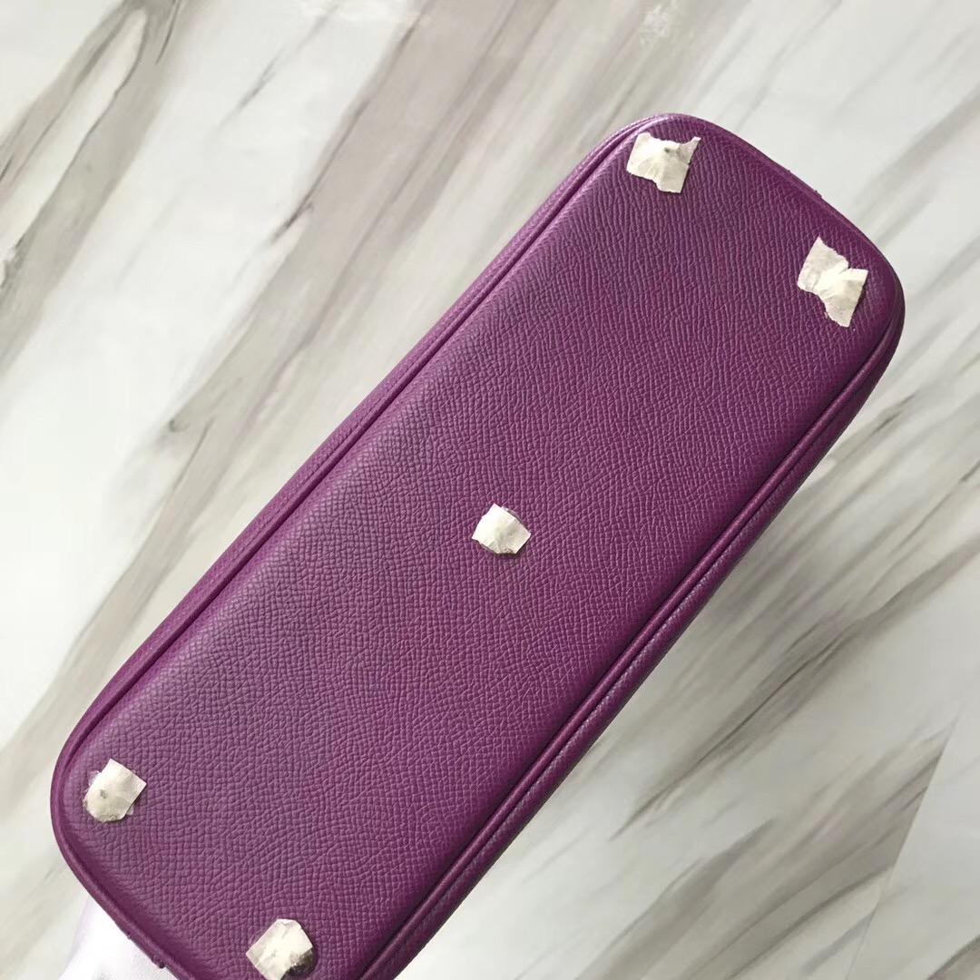 新加坡愛馬仕旗艦店 愛馬仕保齡球包尺寸 Hermes Bolide 27cm P9 海葵紫 Anémone