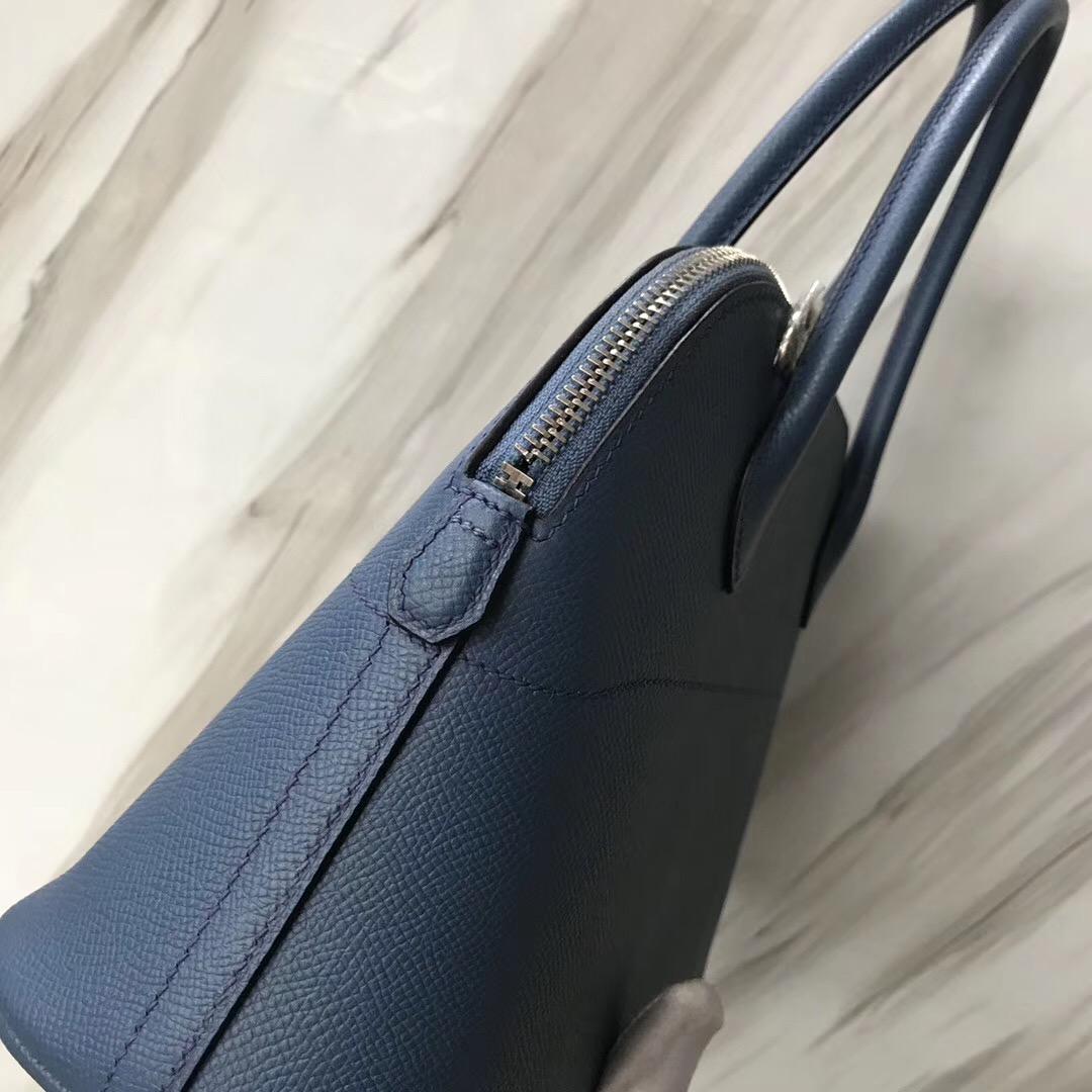 新加坡愛馬仕旗艦店 保齡球包 Hermes Bolide 27cm R2瑪瑙藍 blue agate