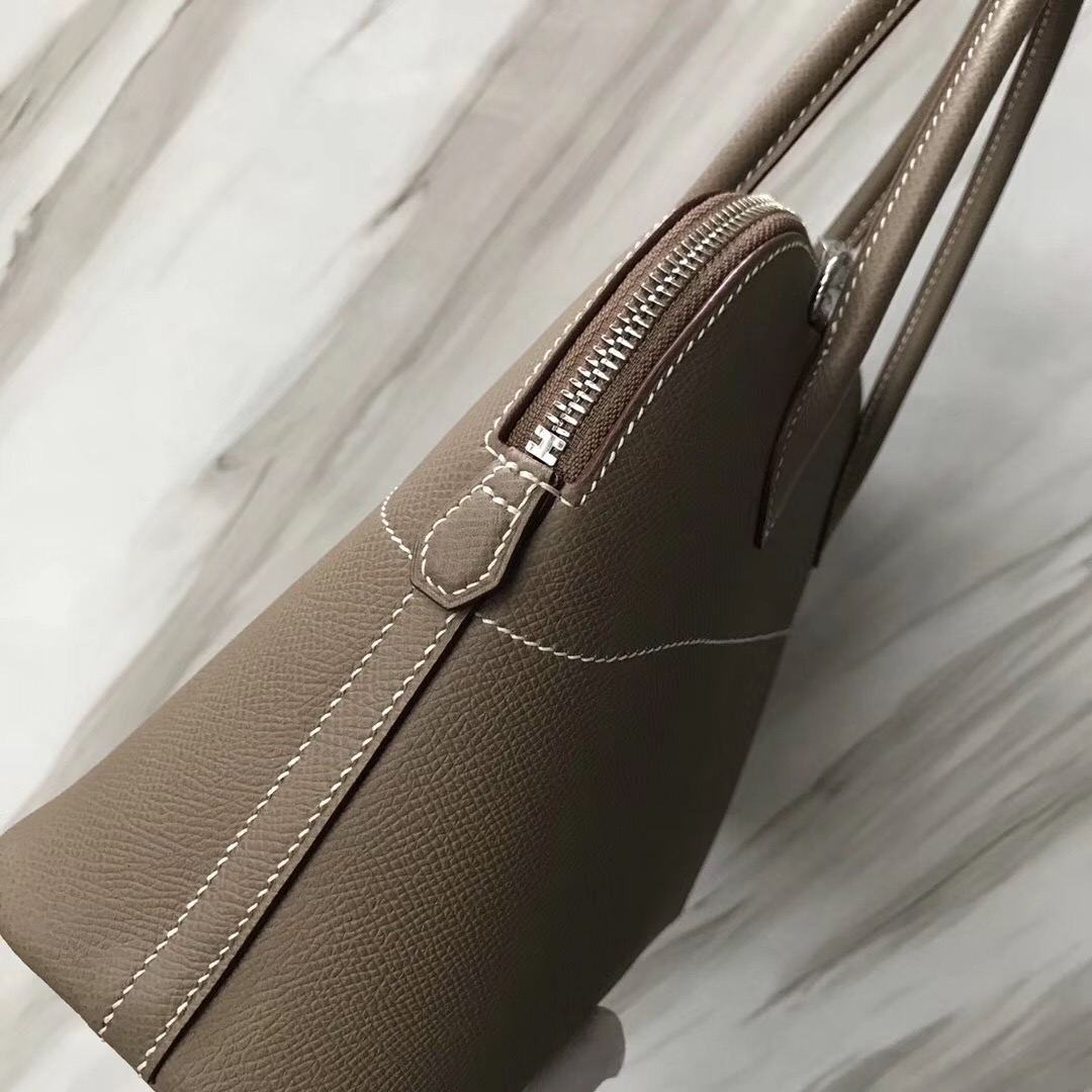 愛馬仕臺灣保齡球包價格 Hermes Bolide 27cm CK18大象灰 Etaupe