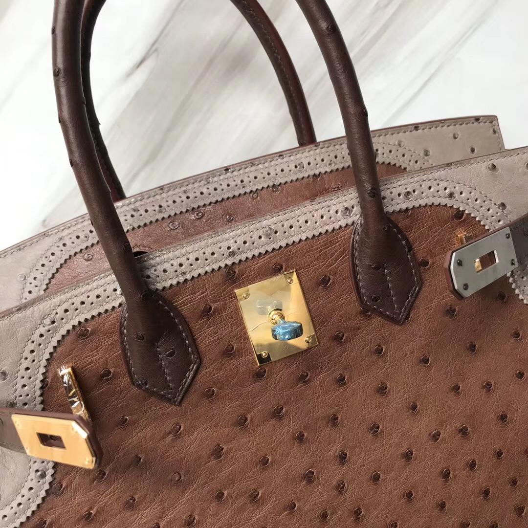 Singapore Hermes Birkin 30cm Ghillise鴕鳥蕾絲三拼色 土黃色/巧克力/大象灰