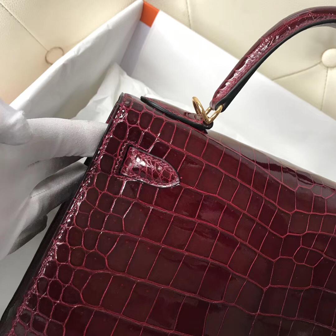 香港新加坡臺灣凱莉包 Hermes Kelly 28 CK57波爾多酒紅Bordeaux 倒V野生灣鱷