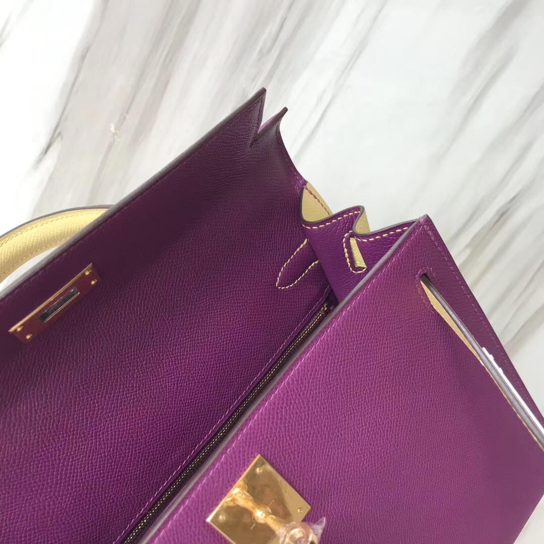 臺灣新竹市愛馬仕凱莉包 Hermes HSS Kelly 28cm P9 海葵紫 Anémone/ 1Z 小雞黃