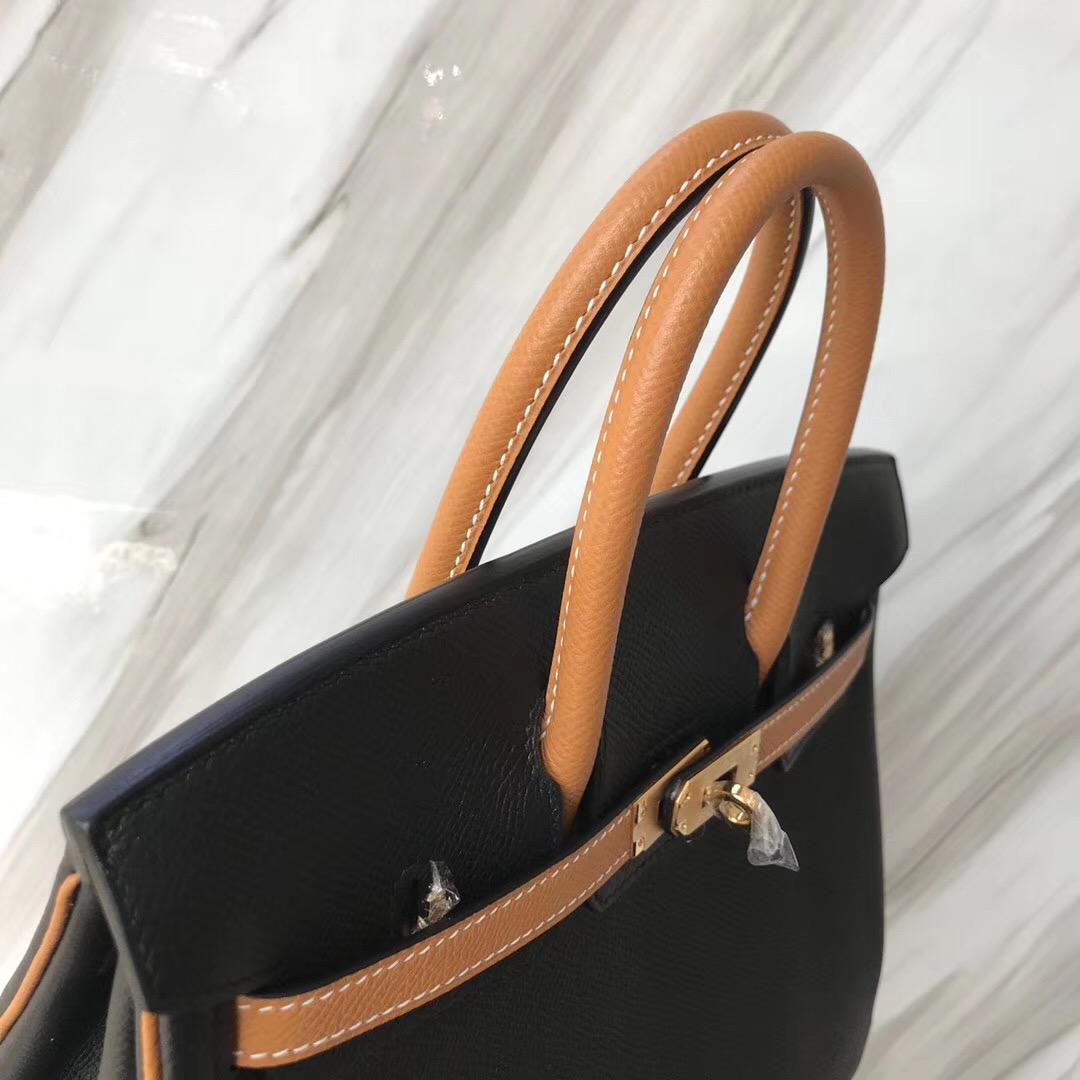 Malaysia Hermes HSS Birkin 25cm Bags CK89 黑色/1H toffee 太妃糖