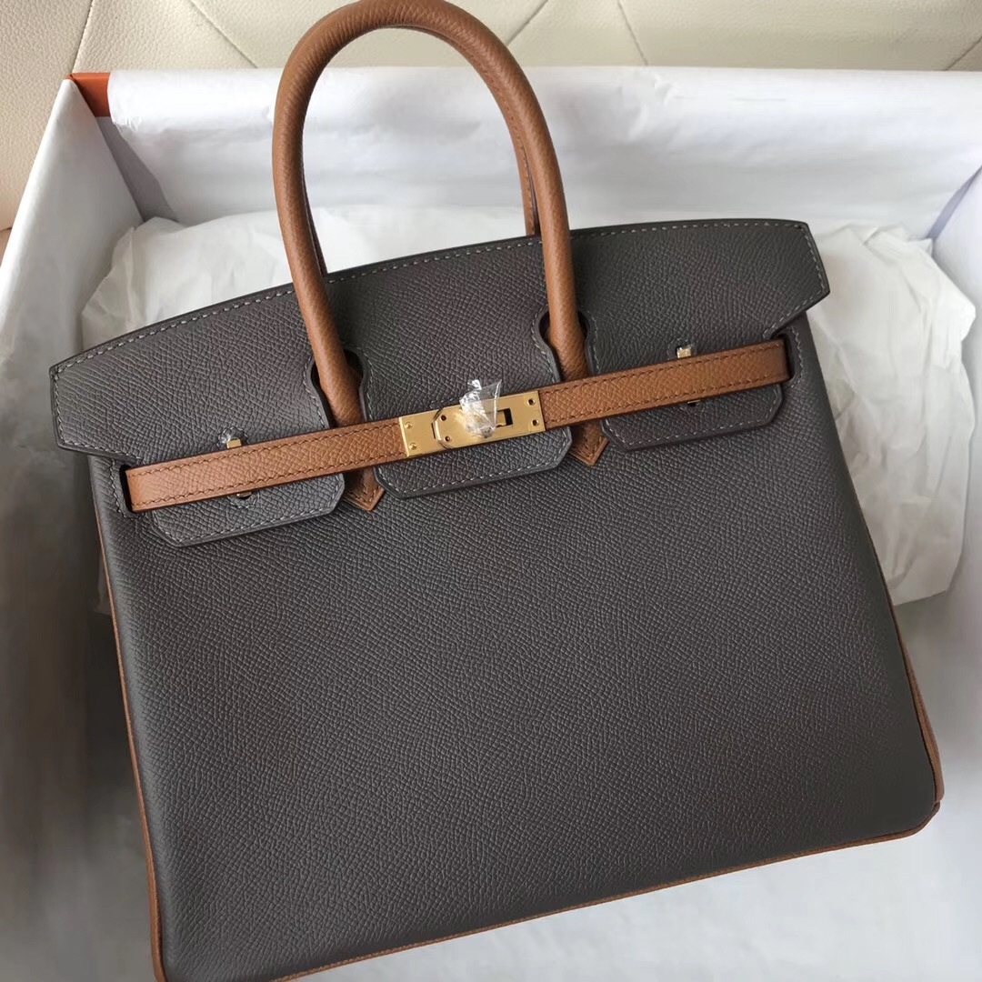 Australia Hermes HSS Birkin 25cm Bag 8F Etain 錫器灰 CK37 Gold 金棕色