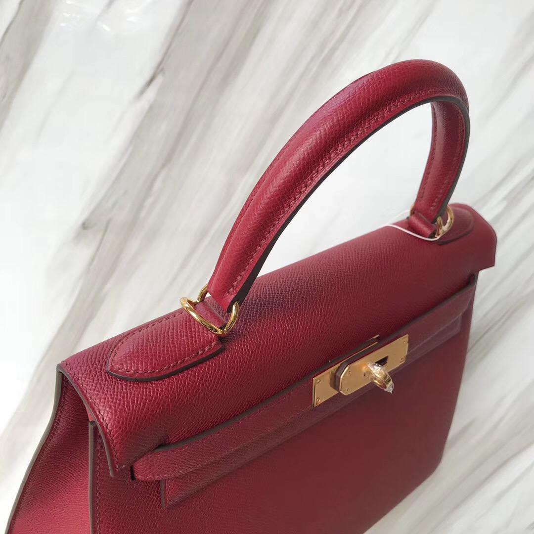 臺灣桃園愛馬仕凱莉包包網址 Hermes kelly 28cm K1石榴紅 Rouge Grenat