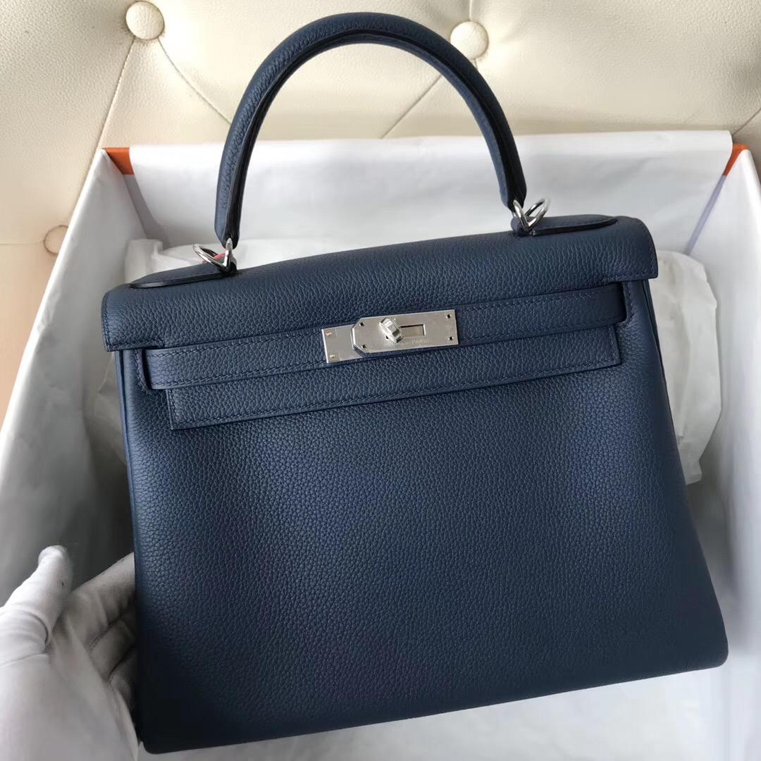 愛馬仕凱莉包迪拜買劃算嗎 Hermes Kelly 28cm Bag 1P鴨子藍 Blue Colvert