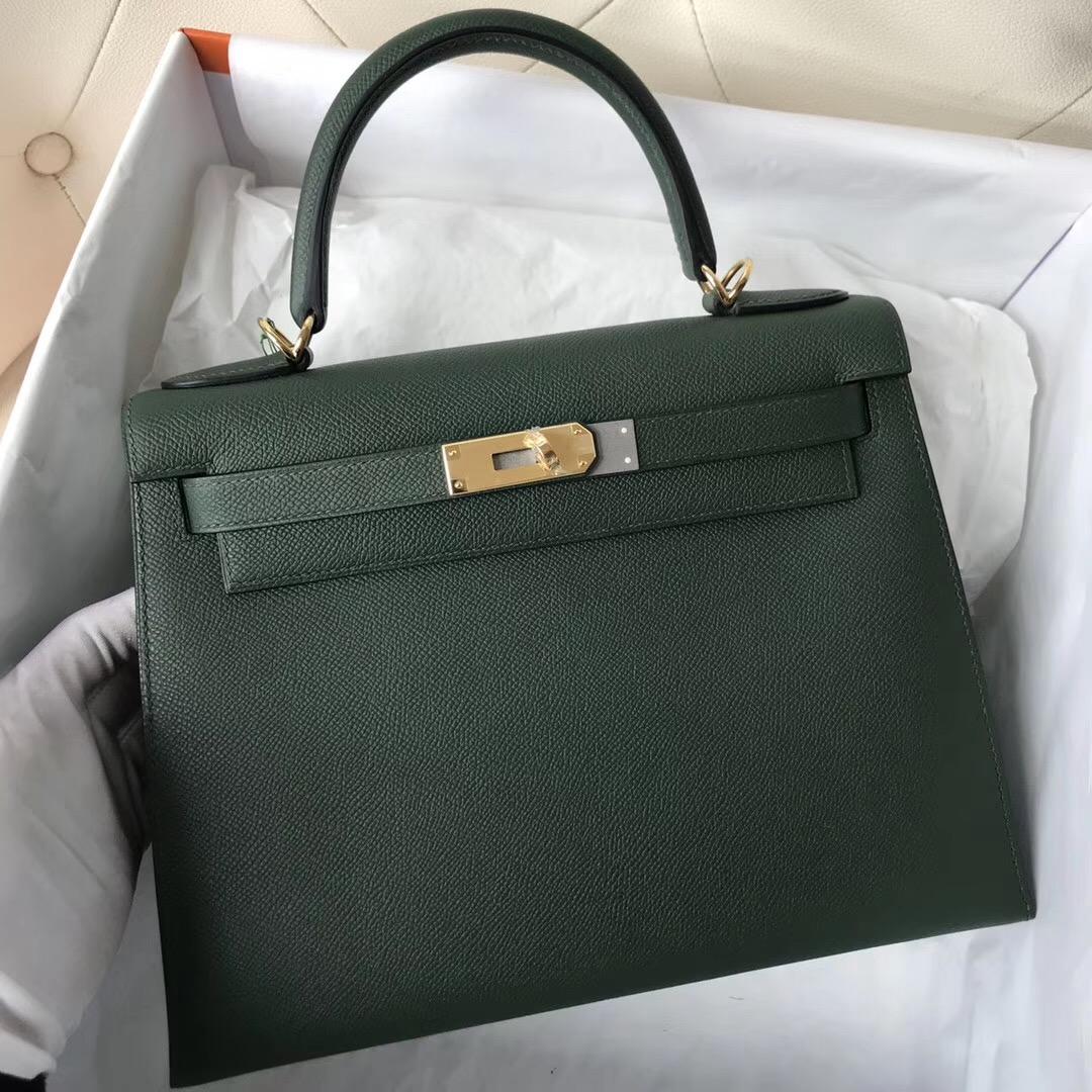 新加坡哪裏的愛馬仕包包不用配貨 Hermes Kelly 28cm 2Q Vert Amclais 英國綠